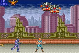 In game image of Contra Advance: The Alien Wars EX on the Nintendo Game Boy Advance.