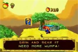 In game image of Crash Bandicoot Purple: Ripto's Rampage on the Nintendo Game Boy Advance.