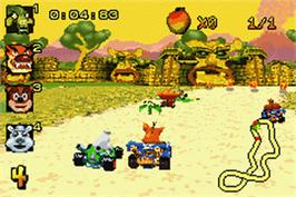 In game image of Crash Nitro Kart on the Nintendo Game Boy Advance.