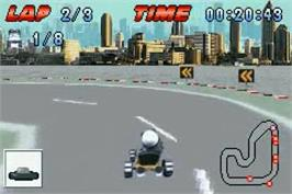In game image of Crazy Frog Racer on the Nintendo Game Boy Advance.