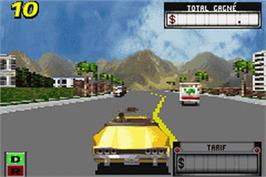 In game image of Crazy Taxi: Catch a Ride on the Nintendo Game Boy Advance.
