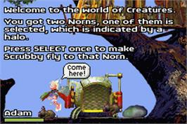 In game image of Creatures on the Nintendo Game Boy Advance.