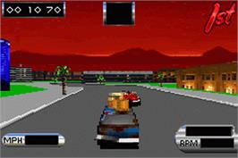 In game image of Cruis'n Velocity on the Nintendo Game Boy Advance.