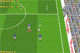 In game image of David Beckham Soccer on the Nintendo Game Boy Advance.