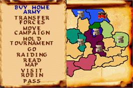 In game image of Defender of the Crown on the Nintendo Game Boy Advance.