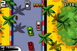 In game image of Demon Driver: Time to Burn Rubber on the Nintendo Game Boy Advance.