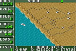 In game image of Desert Strike: Return to the Gulf on the Nintendo Game Boy Advance.
