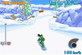 In game image of Disney Sports Snowboarding on the Nintendo Game Boy Advance.