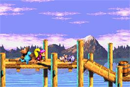 In game image of Donkey Kong 3 on the Nintendo Game Boy Advance.