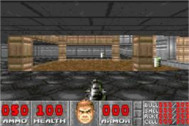 In game image of Doom on the Nintendo Game Boy Advance.