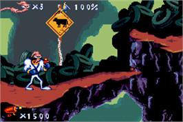 In game image of Earthworm Jim on the Nintendo Game Boy Advance.