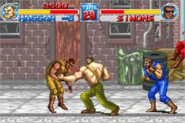 In game image of Final Fight on the Nintendo Game Boy Advance.
