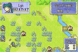 In game image of Fire Emblem: The Sacred Stones on the Nintendo Game Boy Advance.