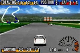 In game image of GT Advance Championship Racing on the Nintendo Game Boy Advance.