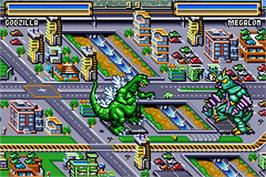 In game image of Godzilla: Domination on the Nintendo Game Boy Advance.