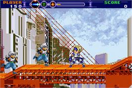 In game image of Gunstar Super Heroes on the Nintendo Game Boy Advance.