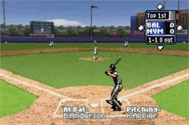 In game image of High Heat Major League Baseball 2002 on the Nintendo Game Boy Advance.