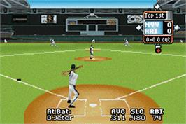 In game image of High Heat Major League Baseball 2003 on the Nintendo Game Boy Advance.