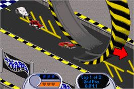 In game image of Hot Wheels: Velocity X on the Nintendo Game Boy Advance.