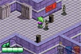 In game image of Incredible Hulk on the Nintendo Game Boy Advance.