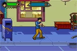 In game image of Jackie Chan Adventures: Legend of the Dark Hand on the Nintendo Game Boy Advance.