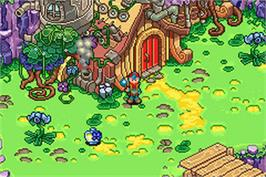 In game image of Juka and the Monophonic Menace on the Nintendo Game Boy Advance.