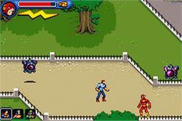 In game image of Justice League Heroes: The Flash on the Nintendo Game Boy Advance.