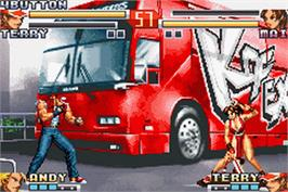 In game image of King of Fighters EX2: Howling Blood on the Nintendo Game Boy Advance.