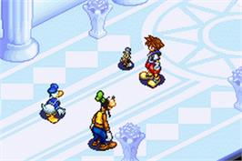 In game image of Kingdom Hearts: Chain of Memories on the Nintendo Game Boy Advance.