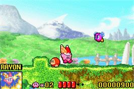 In game image of Kirby: Nightmare in Dreamland on the Nintendo Game Boy Advance.