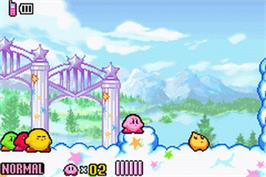 In game image of Kirby and the Amazing Mirror on the Nintendo Game Boy Advance.