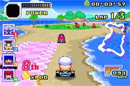 In game image of Konami Krazy Racers on the Nintendo Game Boy Advance.