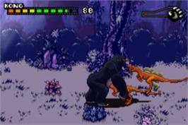 In game image of Kong: The 8th Wonder of the World on the Nintendo Game Boy Advance.