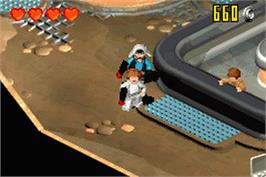 In game image of LEGO Star Wars 2: The Original Trilogy on the Nintendo Game Boy Advance.