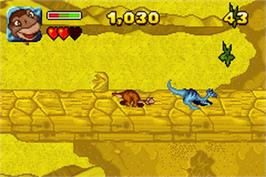 In game image of Land Before Time on the Nintendo Game Boy Advance.
