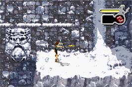 In game image of Lara Croft Tomb Raider: The Prophecy on the Nintendo Game Boy Advance.