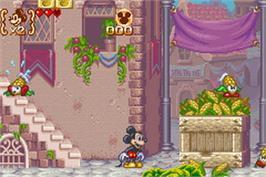 In game image of Magical Quest 3 starring Mickey and Donald on the Nintendo Game Boy Advance.