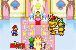 In game image of Mario & Luigi: Superstar Saga on the Nintendo Game Boy Advance.