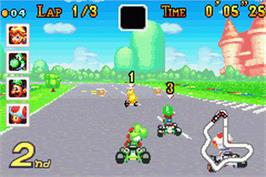 In game image of Mario Kart Super Circuit on the Nintendo Game Boy Advance.