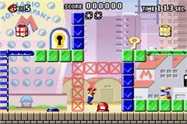 In game image of Mario vs. Donkey Kong on the Nintendo Game Boy Advance.