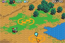 In game image of Mech Platoon on the Nintendo Game Boy Advance.