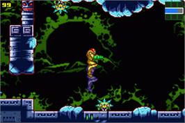 In game image of Metroid: Zero Mission on the Nintendo Game Boy Advance.