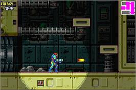 In game image of Metroid Fusion on the Nintendo Game Boy Advance.