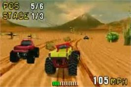 In game image of Monster Truck Madness on the Nintendo Game Boy Advance.