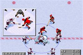 In game image of NHL 2002 on the Nintendo Game Boy Advance.