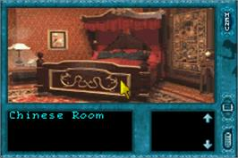 In game image of Nancy Drew: Message in a Haunted Mansion on the Nintendo Game Boy Advance.