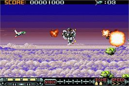 In game image of Phalanx on the Nintendo Game Boy Advance.