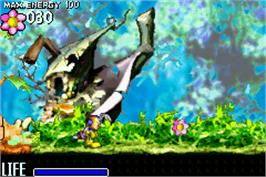 In game image of Pinobee: Wings of Adventure on the Nintendo Game Boy Advance.