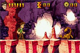 In game image of Pitfall: The Lost Expedition on the Nintendo Game Boy Advance.