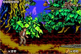 In game image of Pitfall: The Mayan Adventure on the Nintendo Game Boy Advance.